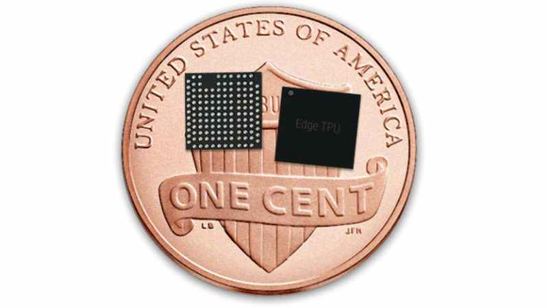 Google Edge TPU shown with a standard US penny